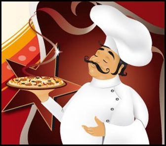 Lovali chef llevando pizza